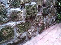 Fresh pointing in the tufa wall