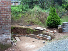 part built retaining wall