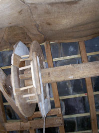 The sack-hoist pulley re-assembled