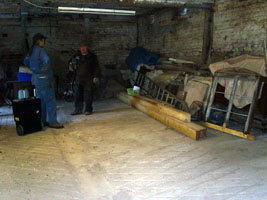 A view of the workshop cum stable