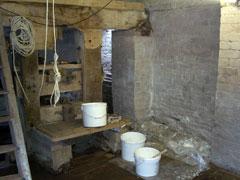 limewashed basement
