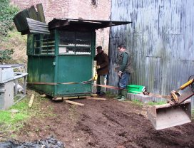 Moving the old timekeepers hut