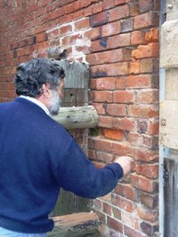 Max repairs the stable wall