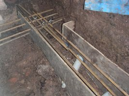 Reinforcing in place ready for concrete