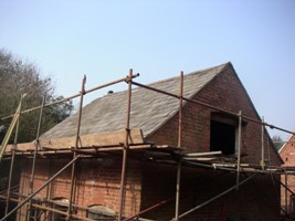 The newly re-slated roof