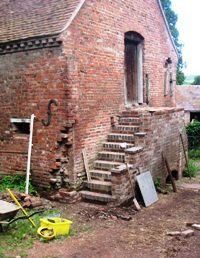 Brick steps complete but untidy