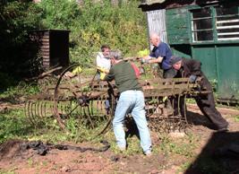 Moving the old hay rake
