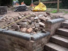 Coping bricks in place.