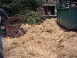 Straw carpet over the mud